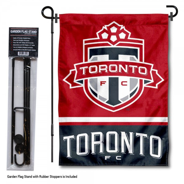 """Toronto FC Garden Flag and Flagpole Stand kit includes our 12.5""""x18"""" garden banner which is made of 2 ply poly with liner and has screen printed licensed logos. Also, a 40""""x17"""" inch garden flag stand is included so your Toronto FC Garden Flag and Flagpole Stand is ready to be displayed with no tools needed for setup. Fast Overnight Shipping is offered and the flag is Officially Licensed and Approved by the selected team."""