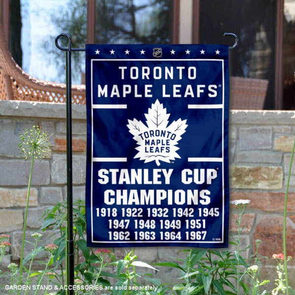 Toronto Maple Leafs 13 Time Stanley Cup Champions Garden Flag is 12.5x18 inches in size, is made of 2-ply polyester, and has two sided screen printed logos and lettering. Available with Express Next Day Ship, our Toronto Maple Leafs 13 Time Stanley Cup Champions Garden Flag is NHL Officially Licensed and is double sided.