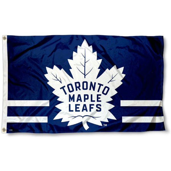 The Toronto Maple Leafs 31 Point Leaf Flag is four-stitched bordered, double sided, made of poly, 3'x5', and has two grommets. These Toronto Maple Leafs 31 Point Leaf Flags are NHL Genuine Merchandise.