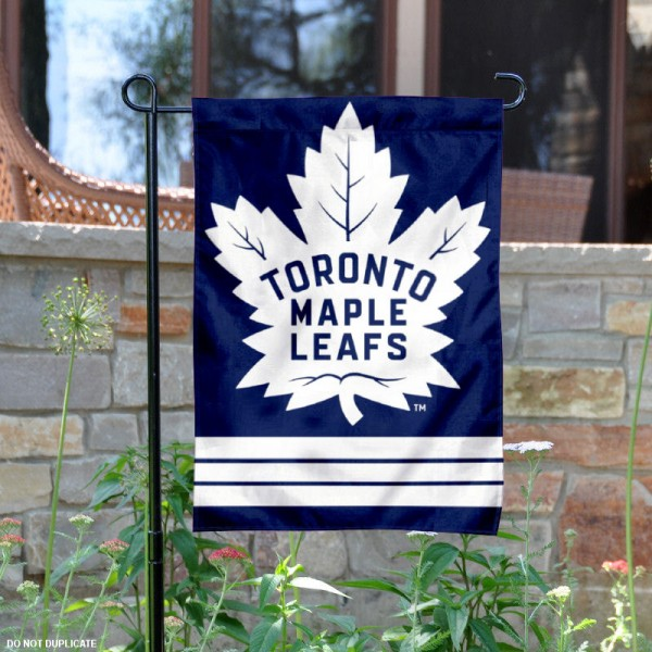 Toronto Maple Leafs Garden Flag is 12.5x18 inches in size, is made of 2-ply polyester, and has two sided screen printed logos and lettering. Available with Express Next Day Ship, our Toronto Maple Leafs Garden Flag is NHL Officially Licensed and is double sided.