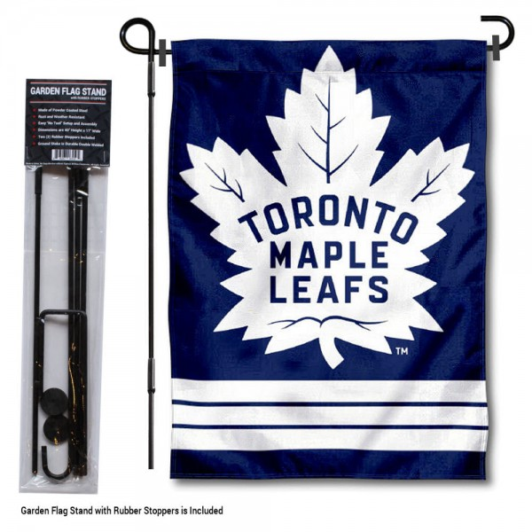 "Toronto Maple Leafs Garden Flag and Flagpole Stand kit includes our 12.5""x18"" garden banner which is made of 2 ply poly with liner and has screen printed licensed logos. Also, a 40""x17"" inch garden flag stand is included so your Toronto Maple Leafs Garden Flag and Flagpole Stand is ready to be displayed with no tools needed for setup. Fast Overnight Shipping is offered and the flag is Officially Licensed and Approved by the selected team."