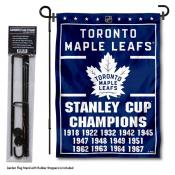 Toronto Maple Leafs Stanley Cup Champions Garden Banner and Flagpole Holder Stand