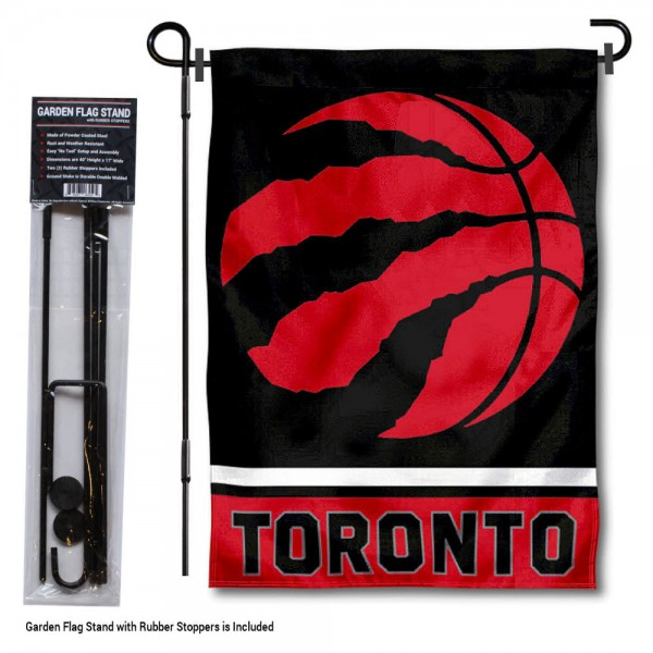 "Toronto Raptors Garden Flag and Flagpole Stand kit includes our 12.5""x18"" garden banner which is made of 2 ply poly with liner and has screen printed licensed logos. Also, a 40""x17"" inch garden flag stand is included so your Toronto Raptors Garden Flag and Flagpole Stand is ready to be displayed with no tools needed for setup. Fast Overnight Shipping is offered and the flag is Officially Licensed and Approved by the selected team."