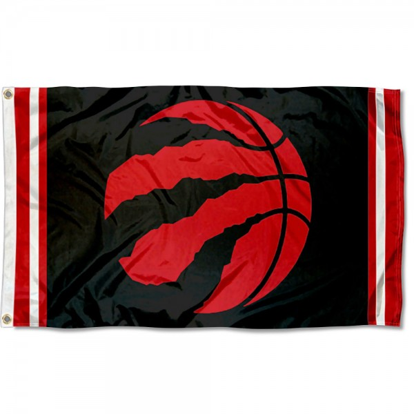The Toronto Raptors Raptor Ball Flag is four-stitched bordered, double sided, made of poly, 3'x5', and has two grommets. These Toronto Raptors Raptor Ball Flags are NBA Genuine Merchandise.
