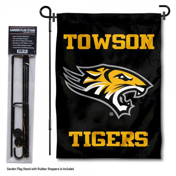 "Towson Tigers Garden Flag and Pole Stand kit includes our 13""x18"" garden banner which is made of 2 ply poly with liner and has screen printed licensed logos. Also, a 40""x17"" inch garden flag stand is included so your Towson Tigers Garden Flag and Pole Stand is ready to be displayed with no tools needed for setup. Fast Overnight Shipping is offered and the flag is Officially Licensed and Approved by the selected team."