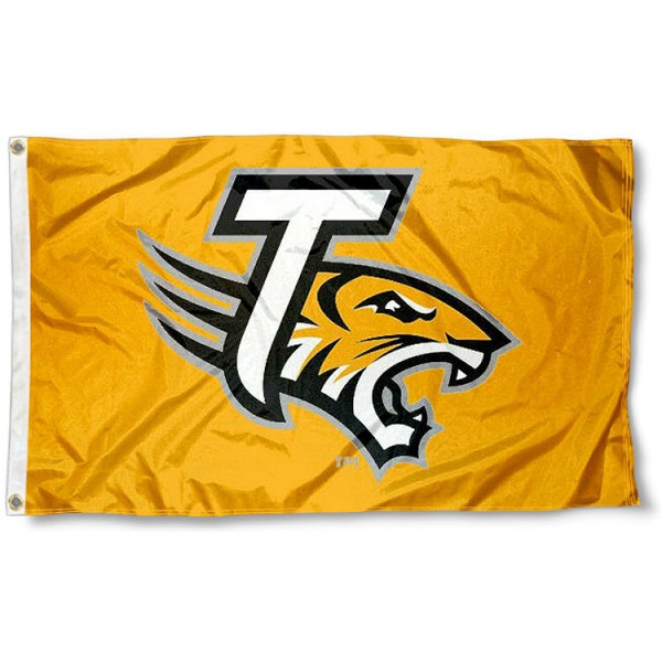 Towson Tigers Gold Flag measures 3x5 feet, is made of 100% polyester, offers quadruple stitched flyends, has two metal grommets, and offers screen printed NCAA team logos and insignias. Our Towson Tigers Gold Flag is officially licensed by the selected university and NCAA.