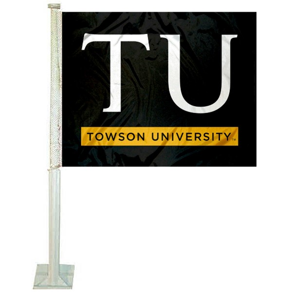 Towson Tigers Logo Car Flag measures 12x15 inches, is constructed of sturdy 2 ply polyester, and has screen printed school logos which are readable and viewable correctly on both sides. Towson Tigers Logo Car Flag is officially licensed by the NCAA and selected university.