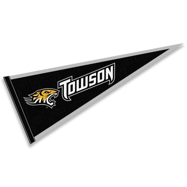 Towson Tigers Pennant Decorations consists of our full size pennant which measures 12x30 inches, is constructed of felt, is single sided imprinted, and offers a pennant sleeve for insertion of a pennant stick, if desired. This Towson Tigers Pennant Decorations is officially licensed by the selected university and the NCAA.