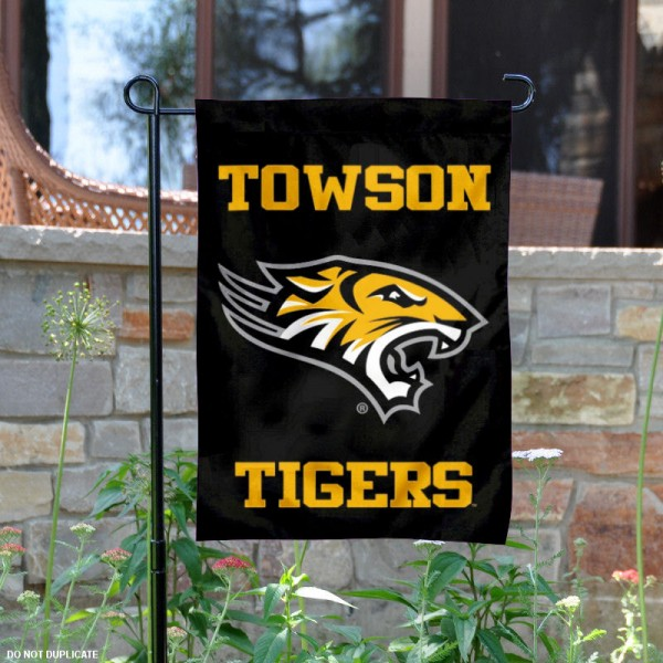 Towson Tigers Wordmark Garden Flag is 13x18 inches in size, is made of 2-layer polyester, screen printed university athletic logos and lettering. Available with Same Day Express Shipping, our Towson Tigers Wordmark Garden Flag is officially licensed and approved by the university and the NCAA.