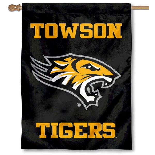 Towson Tigers Wordmark Logo House Flag is a vertical house flag which measures 30x40 inches, is made of 2 ply 100% polyester, offers screen printed NCAA team insignias, and has a top pole sleeve to hang vertically. Our Towson Tigers Wordmark Logo House Flag is officially licensed by the selected university and the NCAA.