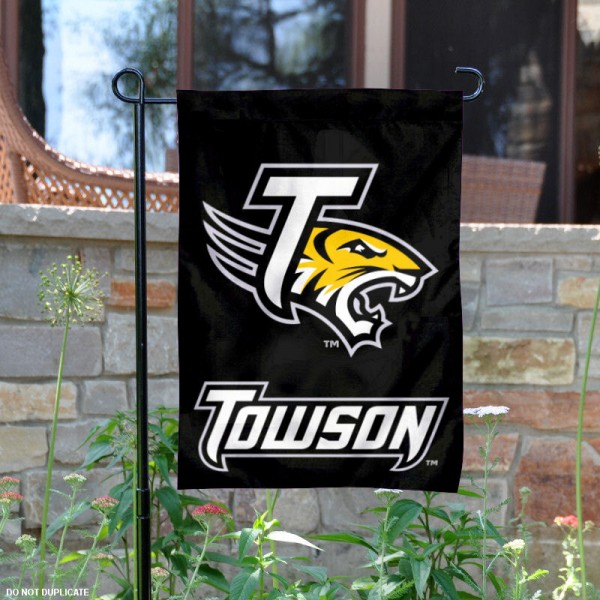 Towson University Garden Flag is 13x18 inches in size, is made of 2-layer polyester, screen printed Towson University athletic logos and lettering. Available with Same Day Express Shipping, Our Towson University Garden Flag is officially licensed and approved by Towson University and the NCAA.