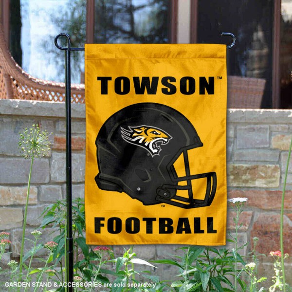 Towson University Football Helmet Garden Banner is 13x18 inches in size, is made of 2-layer polyester, screen printed Towson University athletic logos and lettering. Available with Same Day Express Shipping, Our Towson University Football Helmet Garden Banner is officially licensed and approved by Towson University and the NCAA.