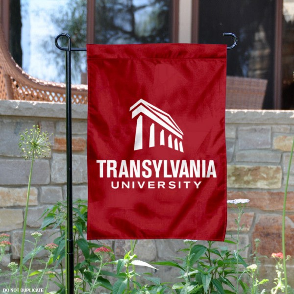Transylvania University Garden Flag is 13x18 inches in size, is made of 2-layer polyester, screen printed university athletic logos and lettering, and is readable and viewable correctly on both sides. Available same day shipping, our Transylvania University Garden Flag is officially licensed and approved by the university and the NCAA.