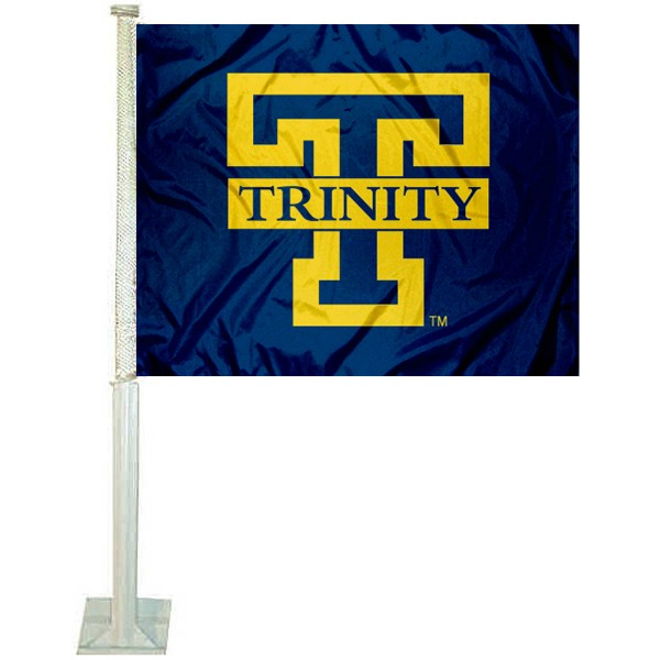 Trinity Bantams Car Window Flag measures 12x15 inches, is constructed of sturdy 2 ply polyester, and has screen printed school logos which are readable and viewable correctly on both sides. Trinity Bantams Car Window Flag is officially licensed by the NCAA and selected university.
