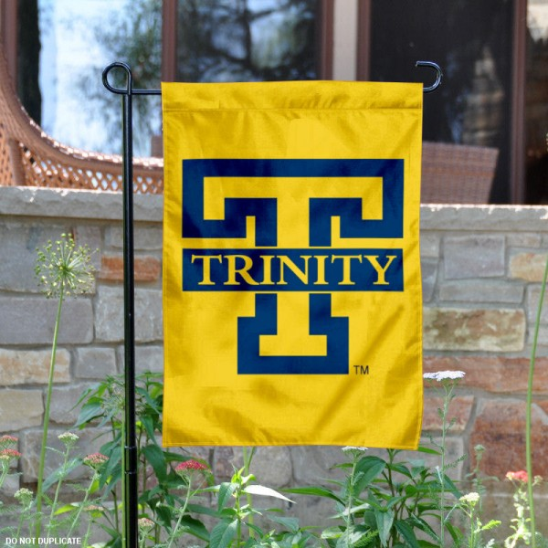 Trinity Bantams Gold Logo Garden Flag is 13x18 inches in size, is made of 2-layer polyester, screen printed university athletic logos and lettering, and is readable and viewable correctly on both sides. Available same day shipping, our Trinity Bantams Gold Logo Garden Flag is officially licensed and approved by the university and the NCAA.