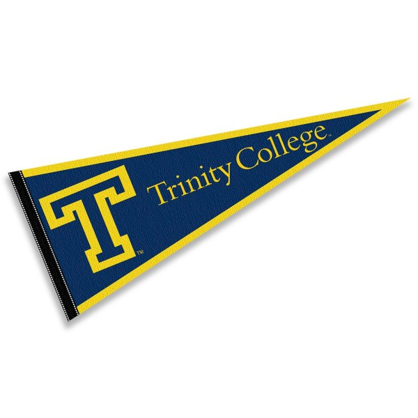 Trinity College Bantams Pennant consists of our full size sports pennant which measures 12x30 inches, is constructed of felt, is single sided imprinted, and offers a pennant sleeve for insertion of a pennant stick, if desired. This Trinity College Bantams Pennant Decorations is Officially Licensed by the selected university and the NCAA.