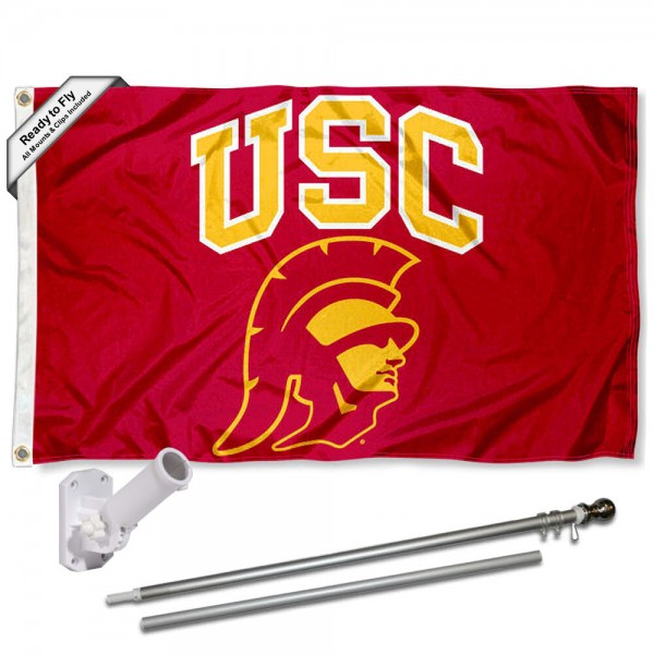 Trojans New Head Logo Flag Pole and Bracket Kit