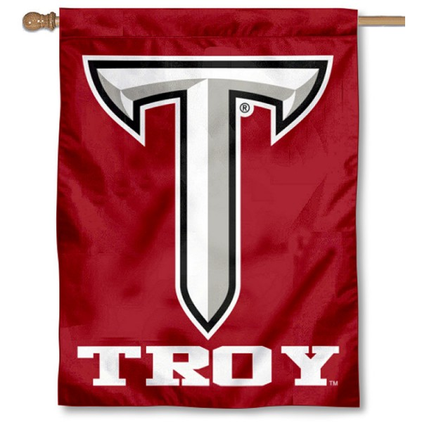 Troy Trojans Double Sided House Flag is a vertical house flag which measures 30x40 inches, is made of 2 ply 100% polyester, offers screen printed NCAA team insignias, and has a top pole sleeve to hang vertically. Our Troy Trojans Double Sided House Flag is officially licensed by the selected university and the NCAA.