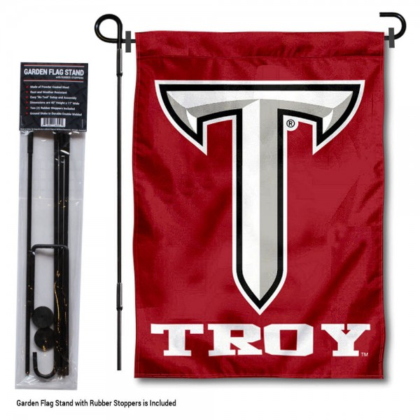 "Troy Trojans Power T Garden Flag and Pole Stand kit includes our 13""x18"" garden banner which is made of 2 ply poly with liner and has screen printed licensed logos. Also, a 40""x17"" inch garden flag stand is included so your Troy Trojans Power T Garden Flag and Pole Stand is ready to be displayed with no tools needed for setup. Fast Overnight Shipping is offered and the flag is Officially Licensed and Approved by the selected team."