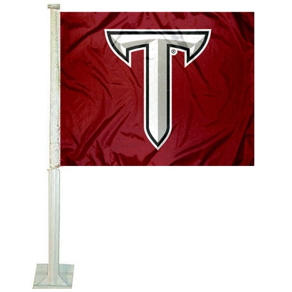 Troy Trojans Power T Logo Car Flag measures 12x15 inches, is constructed of sturdy 2 ply polyester, and has screen printed school logos which are readable and viewable correctly on both sides. Troy Trojans Power T Logo Car Flag is officially licensed by the NCAA and selected university.