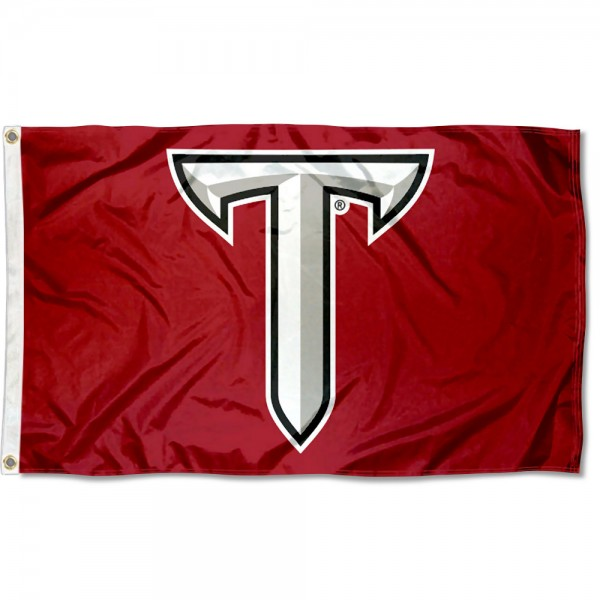 Troy Trojans Power T Logo Flag measures 3x5 feet, is made of 100% polyester, offers quadruple stitched flyends, has two metal grommets, and offers screen printed NCAA team logos and insignias. Our Troy Trojans Power T Logo Flag is officially licensed by the selected university and NCAA.
