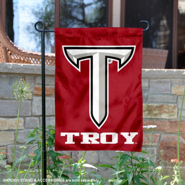 Troy Trojans Power T Logo Garden Flag is 13x18 inches in size, is made of 2-layer polyester, screen printed university athletic logos and lettering, and is readable and viewable correctly on both sides. Available same day shipping, our Troy Trojans Power T Logo Garden Flag is officially licensed and approved by the university and the NCAA.