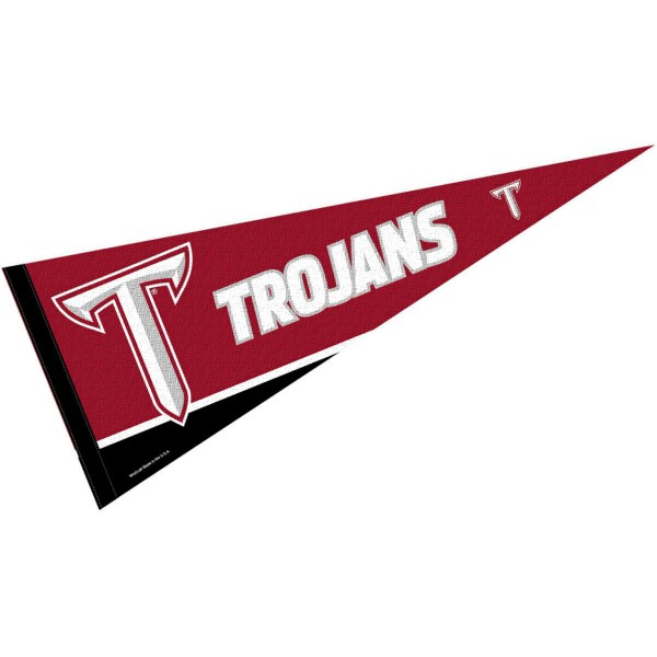 Troy University Felt Pennant consists of our full size sports pennant which measures 12x30 inches, is constructed of felt, is single sided imprinted, and offers a pennant sleeve for insertion of a pennant stick, if desired. This Troy Trojans Felt Pennant is officially licensed by the selected university and the NCAA.