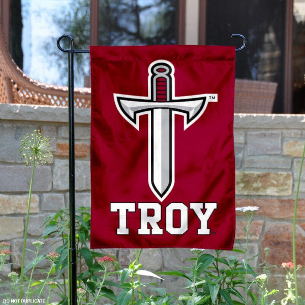 Troy University Garden Flag is 13x18 inches in size, is made of 2-layer polyester, screen printed Troy University athletic logos and lettering. Available with Same Day Express Shipping, Our Troy University Garden Flag is officially licensed and approved by Troy University and the NCAA.