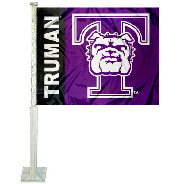 Truman Bulldogs Car Window Flag measures 12x15 inches, is constructed of sturdy 2 ply polyester, and has screen printed school logos which are readable and viewable correctly on both sides. Truman Bulldogs Car Window Flag is officially licensed by the NCAA and selected university.