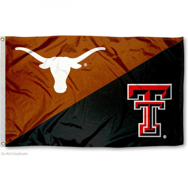 TTU vs. UT House Divided 3x5 Flag sizes at 3x5 feet, is made of 100% polyester, has quadruple-stitched fly ends, and the university logos are screen printed into the TTU vs. UT House Divided 3x5 Flag. The TTU vs. UT House Divided 3x5 Flag is approved by the NCAA and the selected universities.
