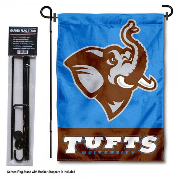 "Tufts University Garden Flag and Stand kit includes our 13""x18"" garden banner which is made of 2 ply poly with liner and has screen printed licensed logos. Also, a 40""x17"" inch garden flag stand is included so your Tufts University Garden Flag and Stand is ready to be displayed with no tools needed for setup. Fast Overnight Shipping is offered and the flag is Officially Licensed and Approved by the selected team."