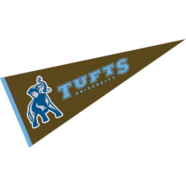 Tufts University Pennant measures 12x30 inches, is made of wool, and the School logos are printed with raised lettering. Our Tufts University Pennant is Officially Licensed and Approved by the University or Institution.
