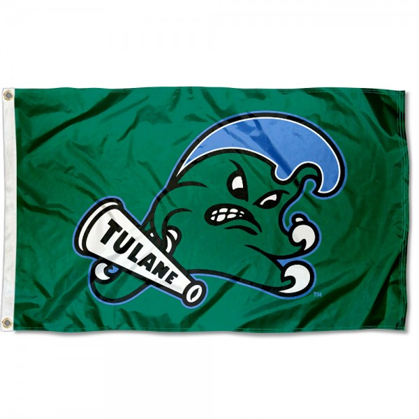 Tulane Green Wave Angry Wave Flag measures 3x5 feet, is made of 100% polyester, offers quadruple stitched flyends, has two metal grommets, and offers screen printed NCAA team logos and insignias. Our Tulane Green Wave Angry Wave Flag is officially licensed by the selected university and NCAA.