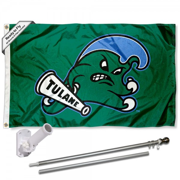 Our Tulane Green Wave Angry Wave Flag Pole and Bracket Kit includes the flag as shown and the recommended flagpole and flag bracket. The flag is made of polyester, has quad-stitched flyends, and the NCAA Licensed team logos are double sided screen printed. The flagpole and bracket are made of rust proof aluminum and includes all hardware so this kit is ready to install and fly.