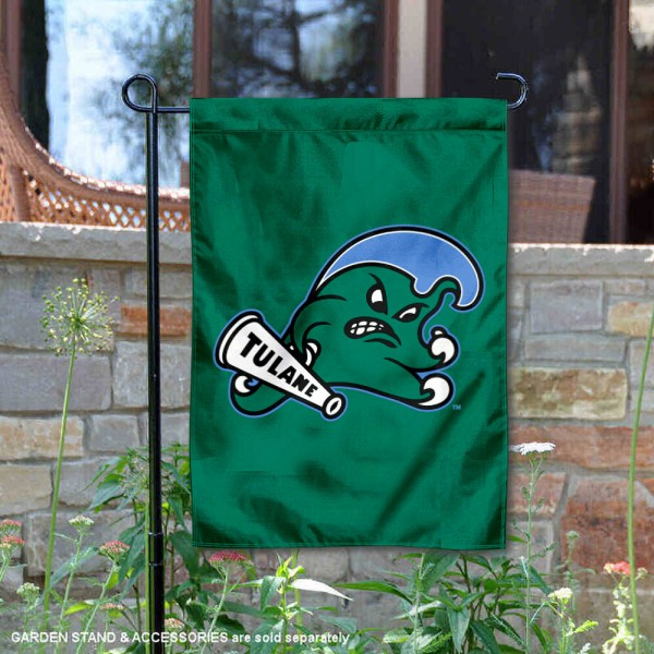 Tulane Green Wave Angry Wave Garden Flag is 13x18 inches in size, is made of 2-layer polyester, screen printed university athletic logos and lettering, and is readable and viewable correctly on both sides. Available same day shipping, our Tulane Green Wave Angry Wave Garden Flag is officially licensed and approved by the university and the NCAA.