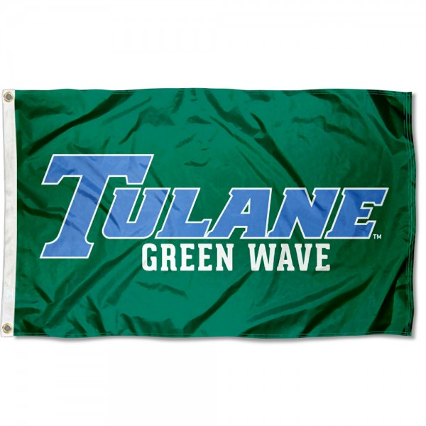 Tulane Green Wave Blue Font Flag measures 3x5 feet, is made of 100% polyester, offers quadruple stitched flyends, has two metal grommets, and offers screen printed NCAA team logos and insignias. Our Tulane Green Wave Blue Font Flag is officially licensed by the selected university and NCAA.