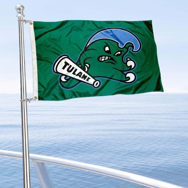 Tulane Green Wave Boat and Mini Flag is 12x18 inches, polyester, offers quadruple stitched flyends for durability, has two metal grommets, and is double sided. Our mini flags for Tulane University are licensed by the university and NCAA and can be used as a boat flag, motorcycle flag, golf cart flag, or ATV flag.