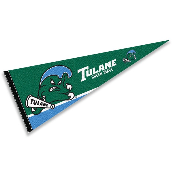 Tulane Green Wave Decorations consists of our full size pennant which measures 12x30 inches, is constructed of felt, is single sided imprinted, and offers a pennant sleeve for insertion of a pennant stick, if desired. This Tulane Green Wave Decorations is officially licensed by the selected university and the NCAA