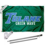Tulane Green Wave Flag Pole and Bracket Kit