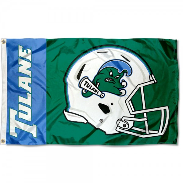 Tulane Green Wave Football Helmet Flag measures 3x5 feet, is made of 100% polyester, offers quadruple stitched flyends, has two metal grommets, and offers screen printed NCAA team logos and insignias. Our Tulane Green Wave Football Helmet Flag is officially licensed by the selected university and NCAA.