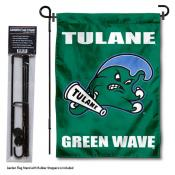 Tulane Green Wave Garden Flag and Pole Stand Mount