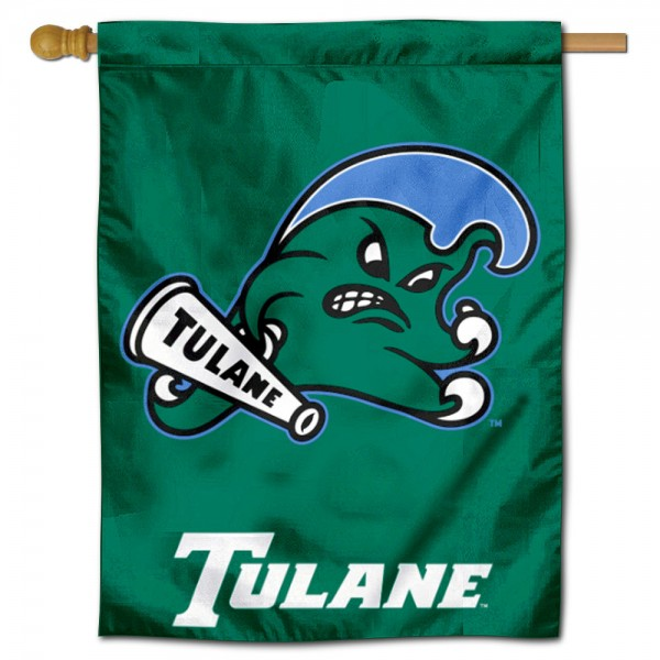 """Tulane Green Wave Logo Banner Flag is constructed of polyester material, is a vertical house flag, measures 30""""x40"""", offers screen printed athletic insignias, and has a top pole sleeve to hang vertically. Our Tulane Green Wave Logo Banner Flag is Officially Licensed by Tulane Green Wave and NCAA."""