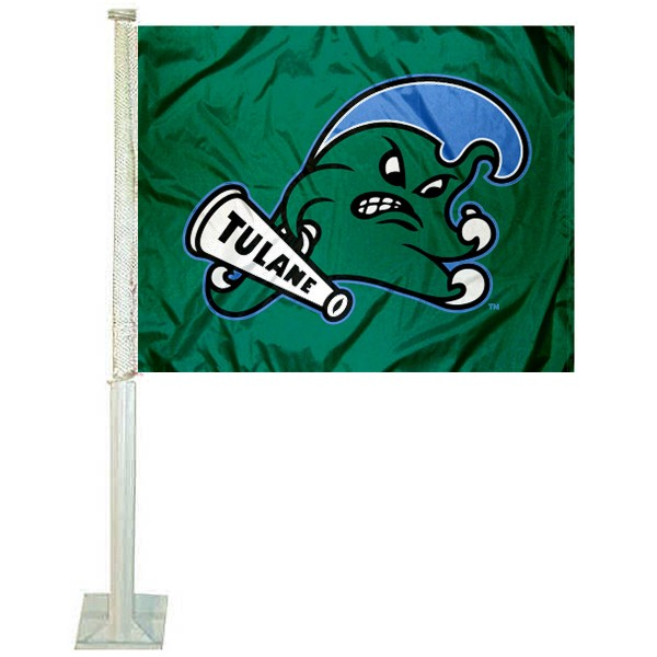 Tulane Green Wave Logo Car Flag measures 12x15 inches, is constructed of sturdy 2 ply polyester, and has screen printed school logos which are readable and viewable correctly on both sides. Tulane Green Wave Logo Car Flag is officially licensed by the NCAA and selected university.