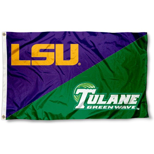 Tulane vs. LSU House Divided 3x5 Flag sizes at 3x5 feet, is made of 100% polyester, has quadruple-stitched fly ends, and the university logos are screen printed into the Tulane vs. LSU House Divided 3x5 Flag. The Tulane vs. LSU House Divided 3x5 Flag is approved by the NCAA and the selected universities.