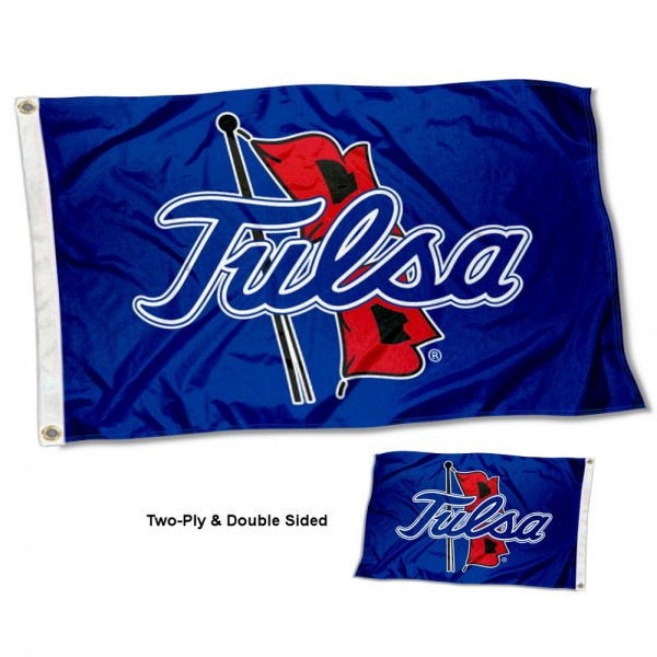 Tulsa Hurricanes Double Sided Flag measures 3'x5', is made of 2 layer 100% polyester, has quadruple stitched flyends for durability, and is readable correctly on both sides. Our Tulsa Hurricanes Double Sided Flag is officially licensed by the university, school, and the NCAA.