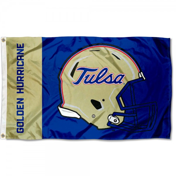 Tulsa Hurricanes Football Helmet Flag measures 3x5 feet, is made of 100% polyester, offers quadruple stitched flyends, has two metal grommets, and offers screen printed NCAA team logos and insignias. Our Tulsa Hurricanes Football Helmet Flag is officially licensed by the selected university and NCAA.