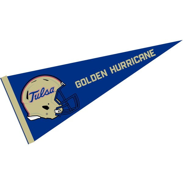 Tulsa Hurricanes Helmet Pennant consists of our full size sports pennant which measures 12x30 inches, is constructed of felt, is single sided imprinted, and offers a pennant sleeve for insertion of a pennant stick, if desired. This Tulsa Hurricanes Pennant Decorations is Officially Licensed by the selected university and the NCAA.
