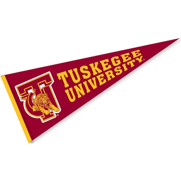 Tuskegee University Pennant measures 12x30 inches, is made of wool, and the School logos are printed with raised lettering. Our Tuskegee University Pennant is Officially Licensed and Approved by the University or Institution.