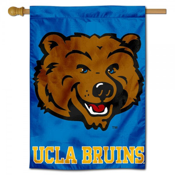 "University of California Los Angeles House Flag is constructed of polyester material, is a vertical house flag, measures 28""x42"", offers screen printed athletic insignias, and has a top pole sleeve to hang vertically. Our California Los Angeles House Flag is Officially Licensed by California Los Angeles and NCAA."