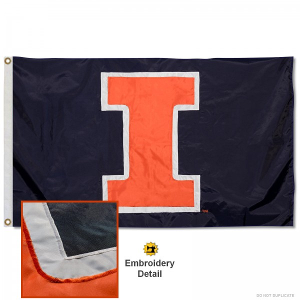 U of I Fighting Illini Nylon Embroidered Flag measures 3'x5', is made of 100% nylon, has quadruple flyends, two metal grommets, and has double sided appliqued and embroidered University logos. These U of I Fighting Illini 3x5 Flags are officially licensed by the selected university and the NCAA.